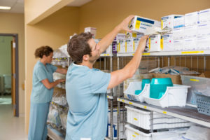 Providers in medical storage room