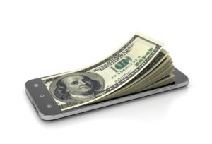 Money coming out of a smartphone