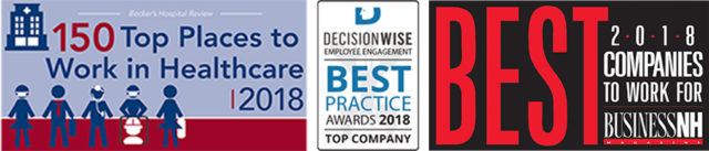Becker's 150 Top Places to Work in Healthcare 2018 award, Decisionwise Best Practice 2018 award, Business NH Best Companies to Work For 2018 award
