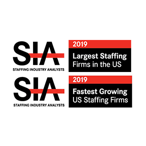 SIA Fastest Growing and Largest Staffing award logos